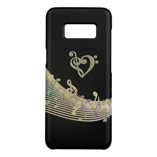 Gold Clef Heart and Music Notes Galaxy Case