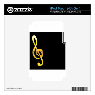 Gold Clef Music Key Vector Decal For iPod Touch 4G