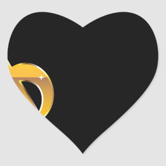 Gold Clef Music Key Vector Heart Sticker