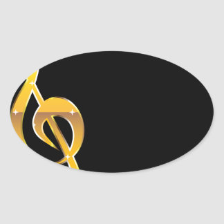 Gold Clef Music Key Vector Oval Sticker