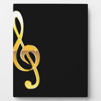 Gold Clef Music Key Vector Plaque