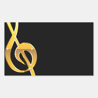 Gold Clef Music Key Vector Rectangular Sticker