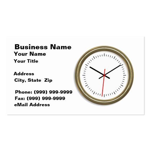 Gold Clock on White Background Double-Sided Standard Business Cards (Pack Of 100)