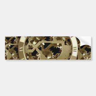 Gold Clocks and Gears Steampunk Mechanical Gifts Car Bumper Sticker