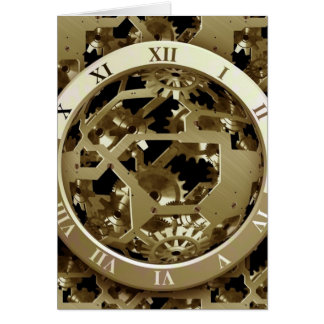 Gold Clocks and Gears Steampunk Mechanical Gifts Card