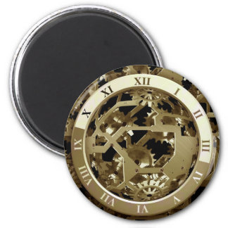 Gold Clocks and Gears Steampunk Mechanical Gifts Magnet