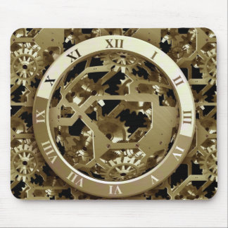Gold Clocks and Gears Steampunk Mechanical Gifts Mouse Pad