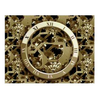 Gold Clocks and Gears Steampunk Mechanical Gifts Postcard