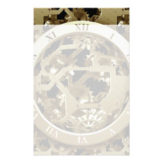 Gold Clocks and Gears Steampunk Mechanical Gifts Stationery