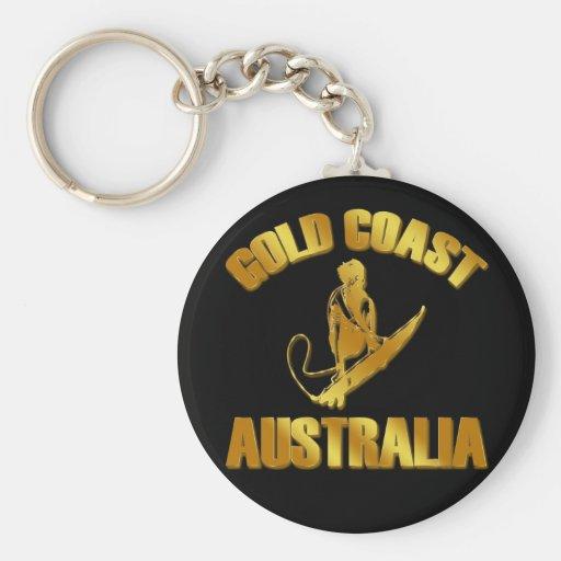 GOLD COAST AUSTRALIA BASIC ROUND BUTTON KEYCHAIN