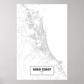 Gold Coast, Australia (black on white) Poster