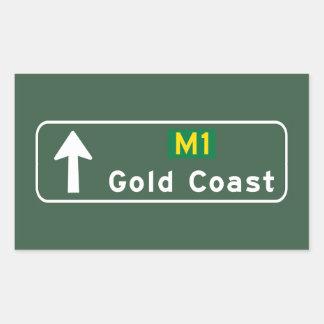 Gold Coast, Australia Road Sign Rectangular Sticker