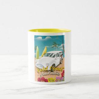 Gold Coast Australia vintage travel poster Two-Tone Coffee Mug