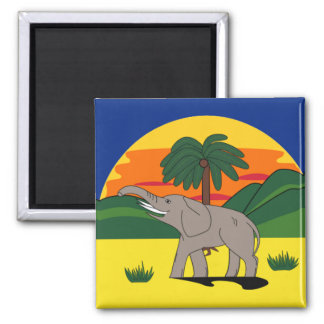 Gold Coast Elephant and Palm Tree 2 Inch Square Magnet