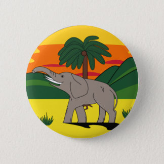 Gold Coast Elephant and Palm Tree Button Badge