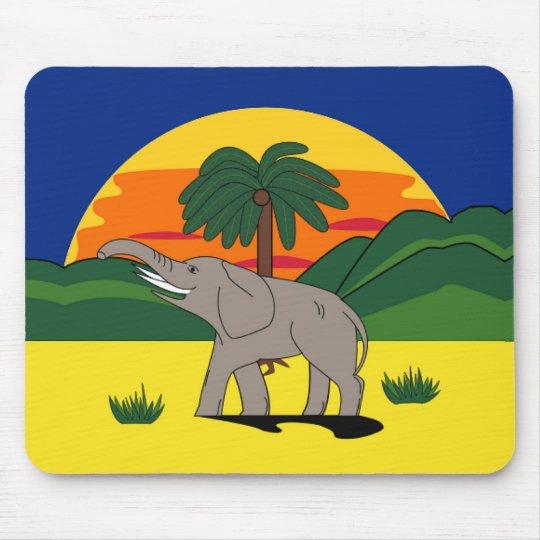 Gold Coast Elephant and Palm Tree Mousepad