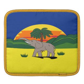 Gold Coast Elephant and Palm Tree On Sleeve iPad Sleeve