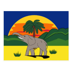 Gold Coast Elephant And Palm Tree Postcard at Zazzle