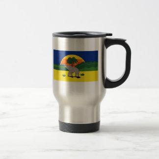 Gold Coast Elephant and Palm Tree Travel Mug