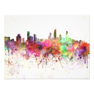 Gold Coast skyline in watercolor background Photo Print