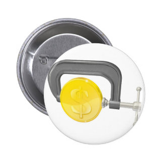 Gold coin in clamp concept button