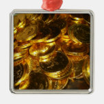 Gold Coins 1 Metal Ornament at Zazzle