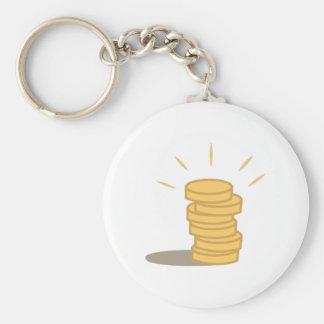 Gold Coins Basic Round Button Keychain