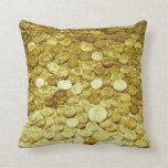gold coins throw pillows