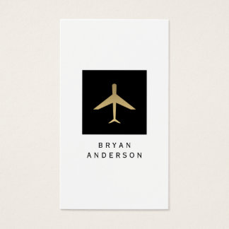 Gold Color Airplane Logo Business Card