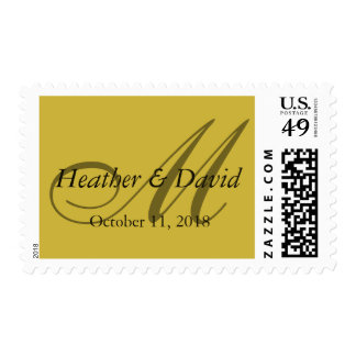 Gold Color Attractive Monogram Wedding Postage