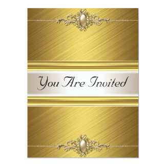 Gold Color Birthday Party Card
