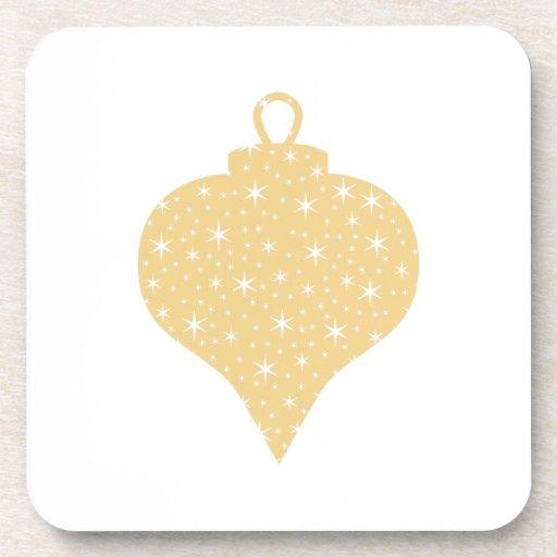 Gold Color Christmas Bauble Design. Beverage Coaster