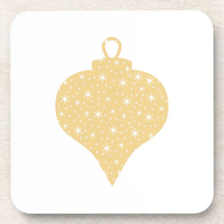 Gold Color Christmas Bauble Design. Drink Coaster