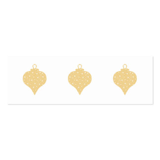 Gold Color Christmas Bauble Design. Mini Business Card