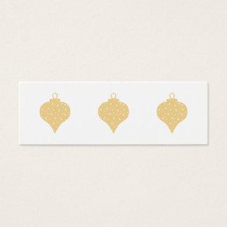 Gold Color Christmas Bauble Design. Mini Business Card