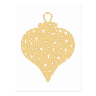 Gold Color Christmas Bauble Design Postcards