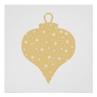 Gold Color Christmas Bauble Design Poster