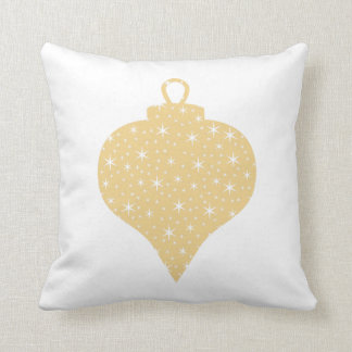 Gold Color Christmas Bauble Design. Throw Pillow