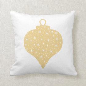 Gold Color Christmas Bauble Design. Throw Pillows