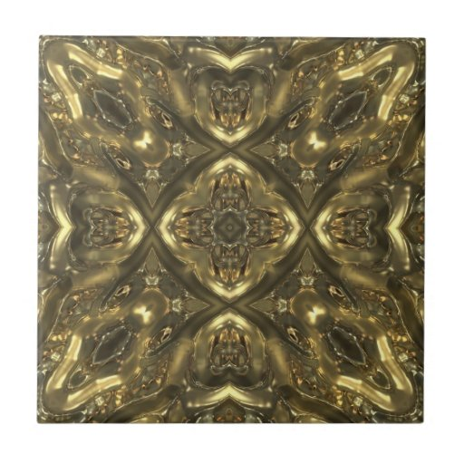 Gold color glass pattern effect tiles