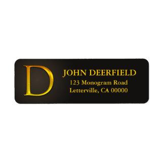 Gold Color Monogram D Return Address Labels