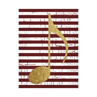 gold color musical note with stripes canvas print
