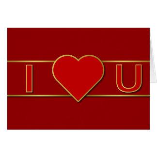 Gold Color Trimmed I Heart U Card