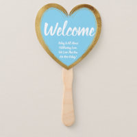 Gold Color Wedding Engagement Party Welcome Hand Fan