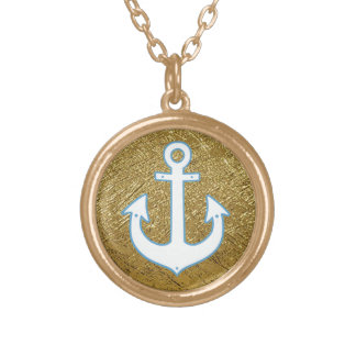 gold color white anchor round pendant necklace