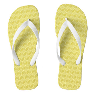 Gold Colored 3D cubes cascading Flip Flops