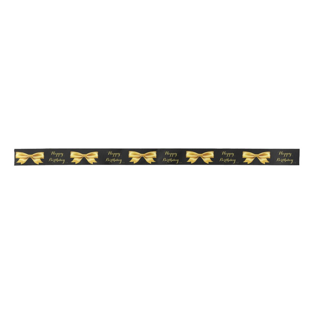 Gold colored bows on black Happy Birthday