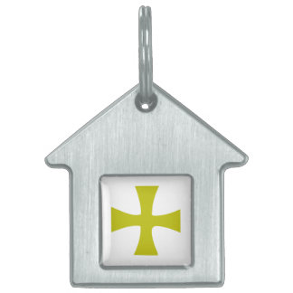 Gold Colored Byzantine Cross Pet Tag
