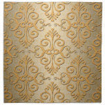Gold Colored Embossed Looking Damask Printed Napkins