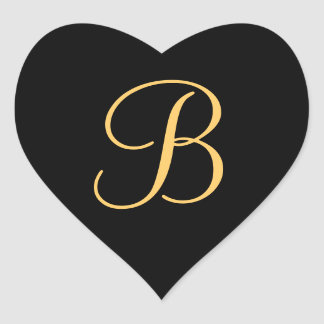 Gold-colored initial B on black monogram sticker
